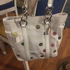 Coach white polka dot bucket bag
